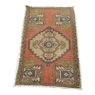 Vintage Small Rug Turkish Handmade Carpet - 1.8x3.1 Ft For Sale