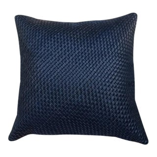 Moroccan Woven Black Leather Pillow For Sale