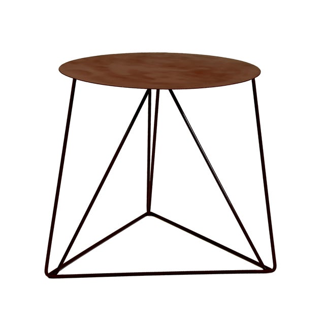 Red Powder Coated Side Table with Metal Top - Image 1 of 2