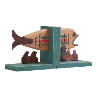 Vintage Rustic and Whimsical Wood and Metal Fish Bookends - a Pair For Sale
