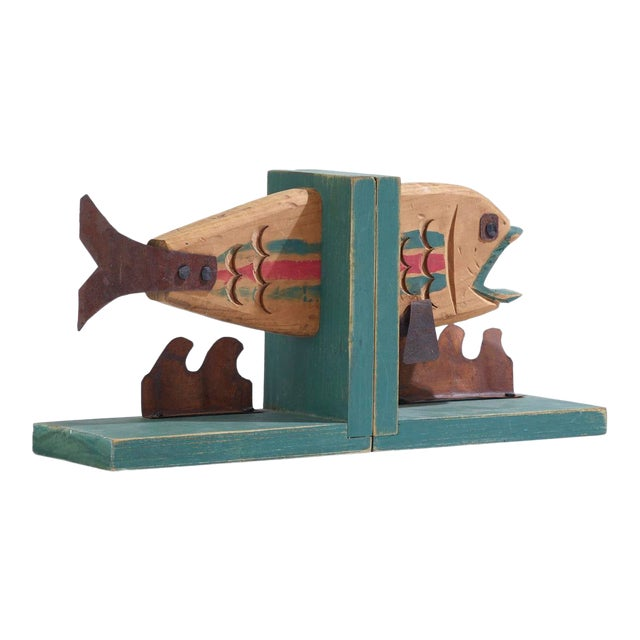 Vintage Rustic And Whimsical Wood And Metal Fish Bookends A Pair Chairish