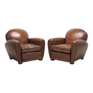 French Art Deco Leather Club Chairs Correctly Restored to a High Standard For Sale