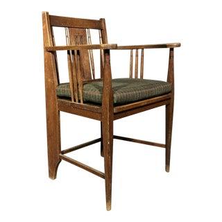 1910s Vintage Art Nouveau Carved Oak Side Chair For Sale