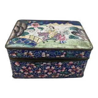Vintage Chinese Cloisonné Metal Box For Sale