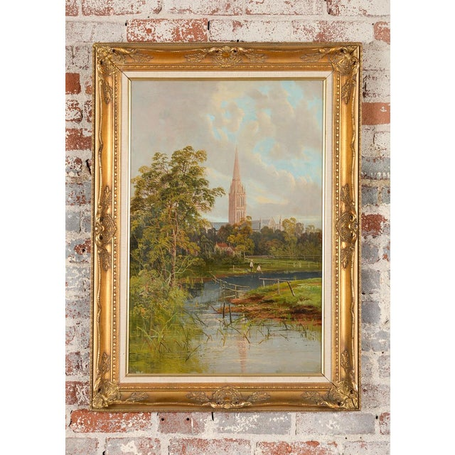 Antique 19th-century original oil painting of a German gothic town. Oil on Canvas. Signed. Framed.