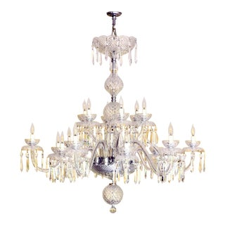 1990s Gothic Waterford 18 Light Crystal Chandelier