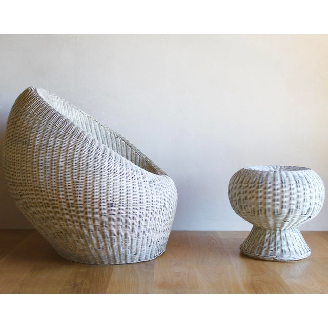 Contemporary Isamu Kenmochi for Yamakawa Japan Rattan Lounge Chair & Side Table For Sale - Image 3 of 13