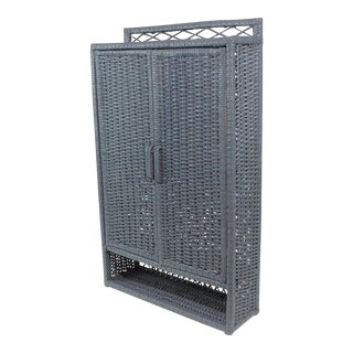 Gray Wicker Wall Shelf