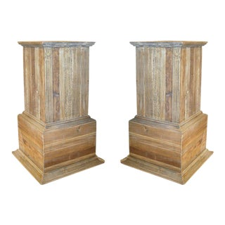 One Pair of Reclaimed Wood Pedestals With Nice Old Patina For Sale