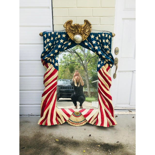 Monumental American Flag Draped Mirror For Sale - Image 11 of 11