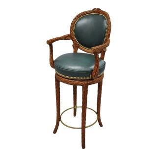 Faux Bois Branch Wooden Swivel Bar Stool For Sale