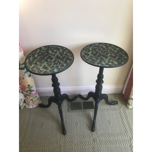 Mahogany 20th Century Regency Faux Tortoise Shell Top Side Tables - a Pair For Sale - Image 7 of 7