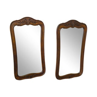 French Country Style Pair of Fruitwood Carved Wall Mirrors Chateau by White Furniture For Sale