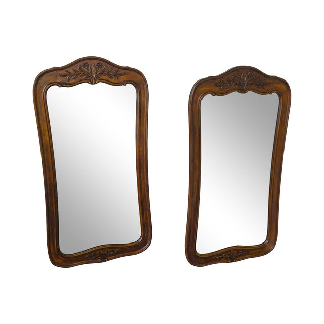 French Country Style Pair Of Fruitwood Carved Wall Mirrors Cau By White Furniture