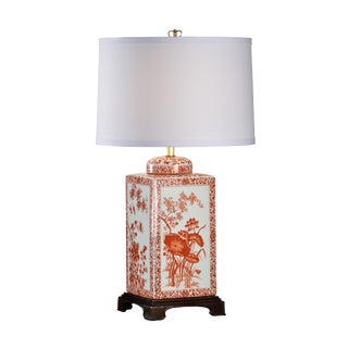 Large Lotus Lamp in Red For Sale