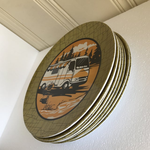 Boho Chic Trailer Park Camping Dinner Plates, Set of Eight For Sale - Image 3 of 7