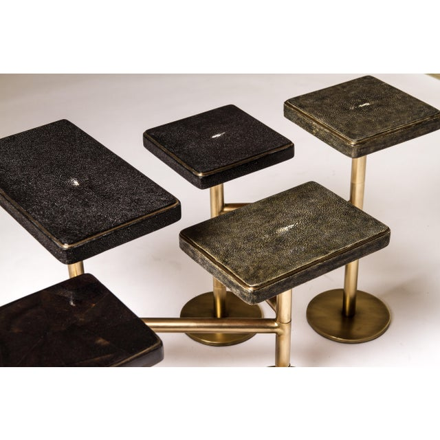 Art Deco Rotating 5-Top Coffee Table in Shagreen & Bronze-Patina Brass by Kifu Paris For Sale - Image 3 of 8