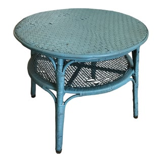 Vintage Boho Chic Wicker and Rattan Side Table For Sale