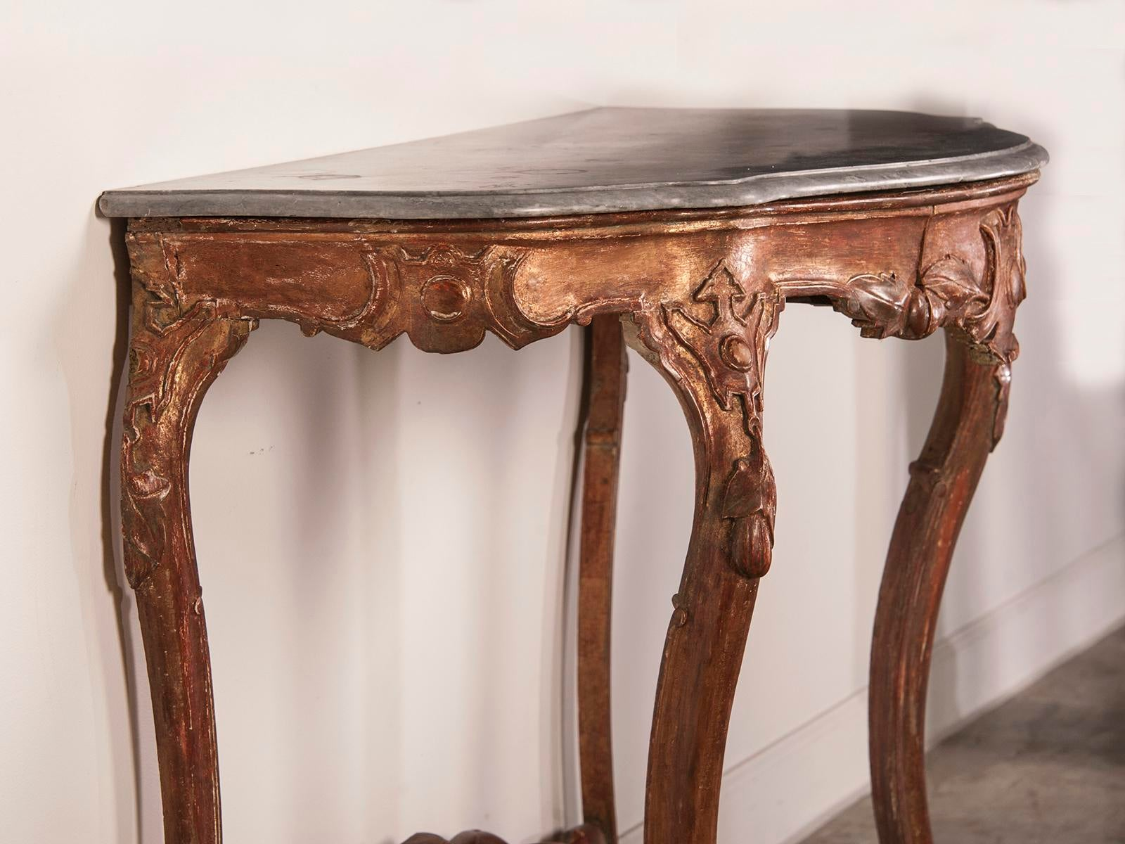 Antique French Louis XV Gold Leaf Console Table, Original Marble Top, Circa  1810 For