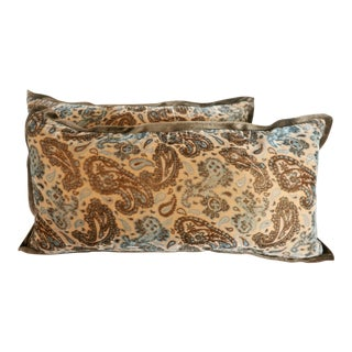 Chocolate and Turquoise Velvet Pillows - A Pair