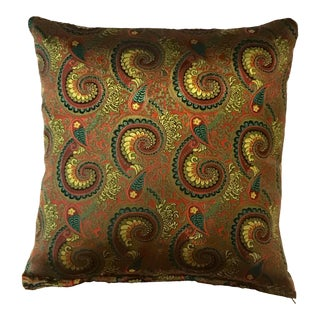 Burgundy & Green Swirl Asian Silk Pillow For Sale