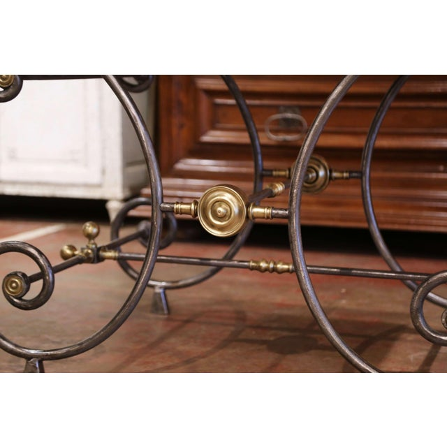 19th Century French Polished Iron and Bronze Pastry Table With Marble Top For Sale In Dallas - Image 6 of 13