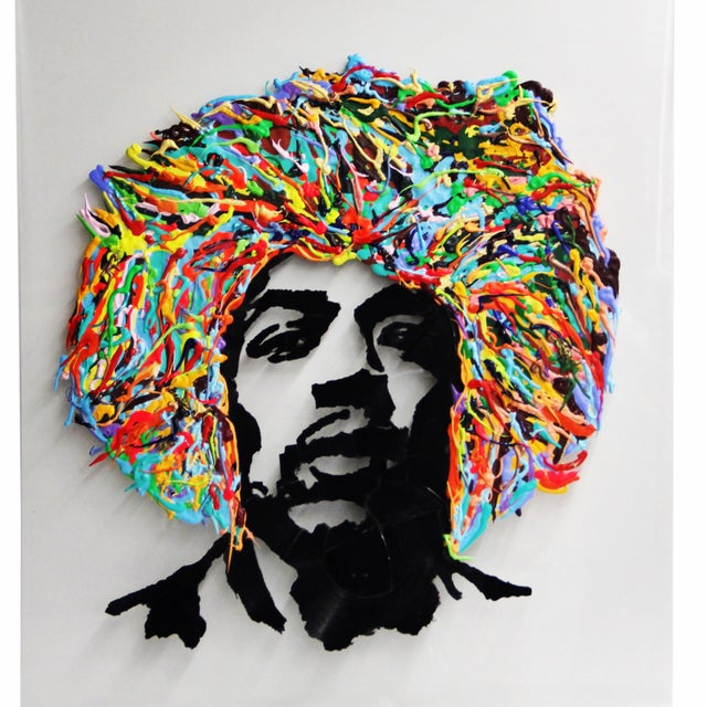 Contemporary Jimmy Hendrix Portrait on Acrylic For Sale - Image 3 of 4