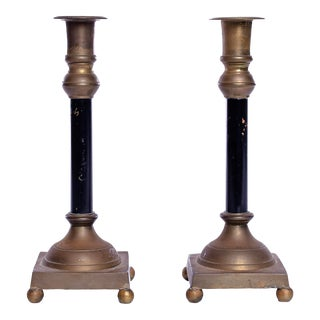 Early 20th Century Brass and Black Antique Candlesticks - a Pair For Sale