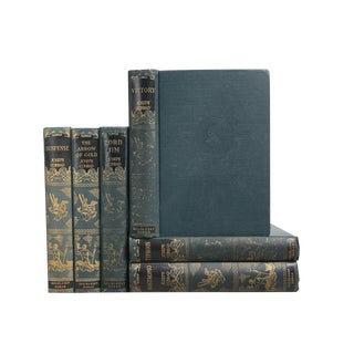 Joseph Conrad 1920's Gilt on Teal: Set of Six Decorative Books For Sale