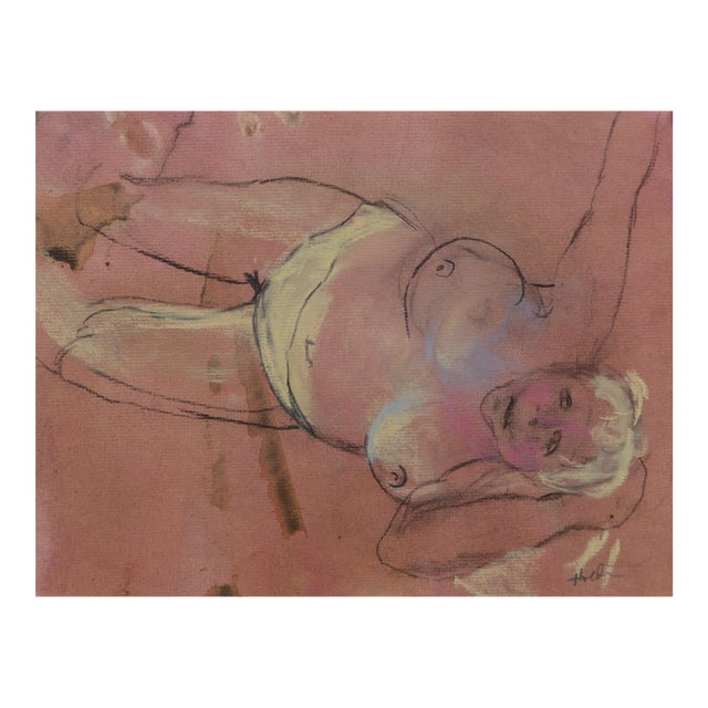 Pastel & Charcoal Drawing of a Woman For Sale