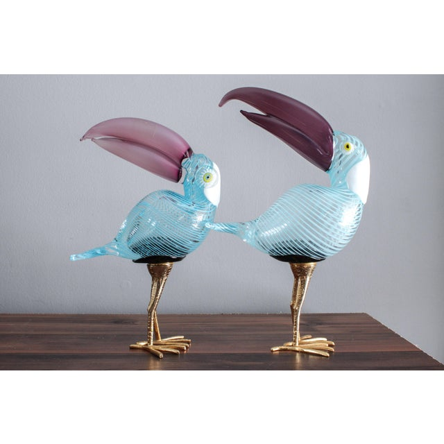 Murano Glass Toucan Birds on Gilt Legs in the Style of Licio Zanetti - Pair For Sale - Image 6 of 13