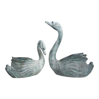 1960s Vintage Toro Brass Swan Planters - Pair For Sale