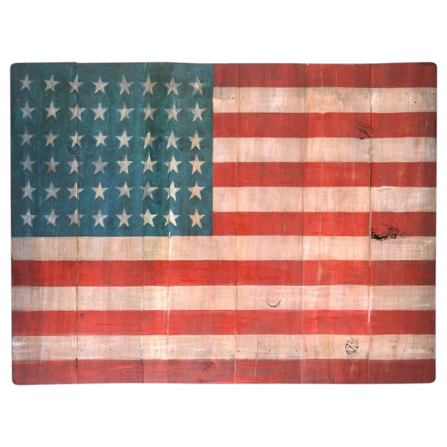 Old Wood Painted American Flag For Sale