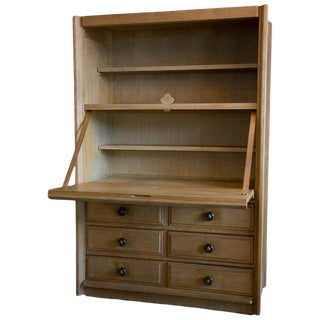 Guillerme Et Chambron Oak Secretary, Midcentury, France For Sale