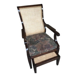 Chelsea Cane Back Chair & Ottoman - A Pair For Sale