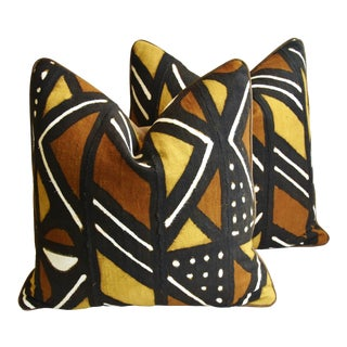 "Malian Tribal Mud-Cloth & Velvet Feather/Down Pillows 22"" Square - Pair For Sale"