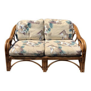 Vintage BoHo Chic Bamboo & Floral Loveseat For Sale