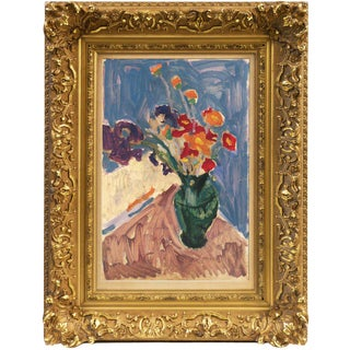 Victor DI Gesu Still Life of Irises With California Poppies (Post-Impressionism, Modernism) Circa 1955 For Sale