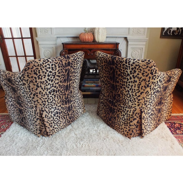 Vintage Leopard Swivel Club Chairs - Pair - Image 4 of 11