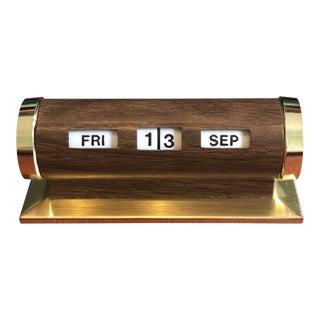 Mid-Century Modern Brass & Wood Perpetual Desk Calendar For Sale