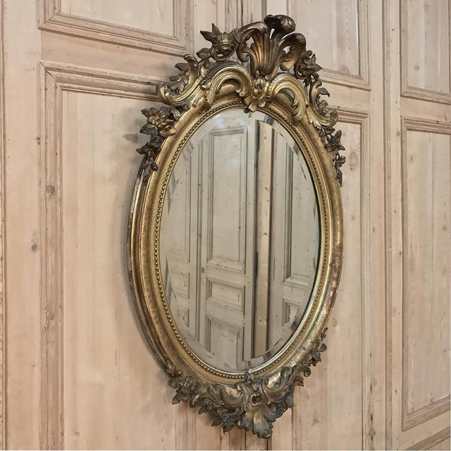French Gilded Mirror, 19th Century French Louis XVI Oval For Sale - Image 3 of 12