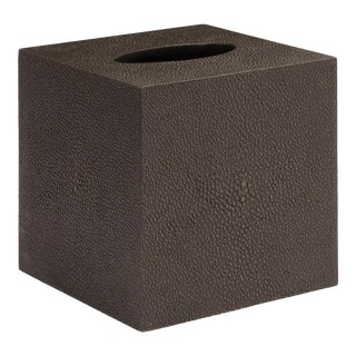 Faux Shagreen Chocolate Tissue Box For Sale
