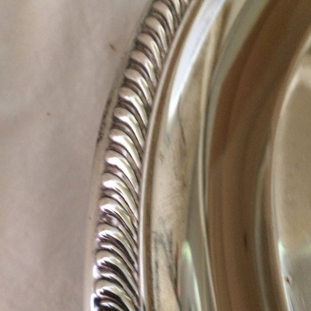 Vintage Unsigned Silver Plated Revolving Cake Tray For Sale - Image 9 of 11