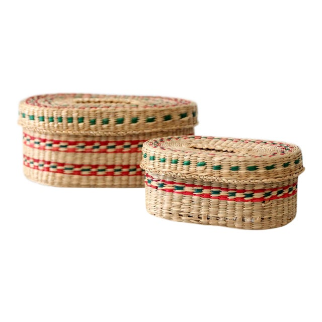 Vintage Sweetgrass Baskets - a Pair For Sale