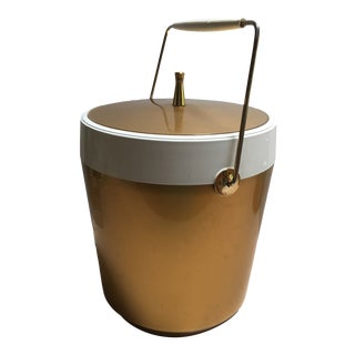 Mid Century Thermal Plastic Ice Bucket in Gold & White For Sale