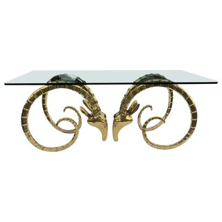 1970s Hollywood Regency Brass Ram Head Dining Table For Sale