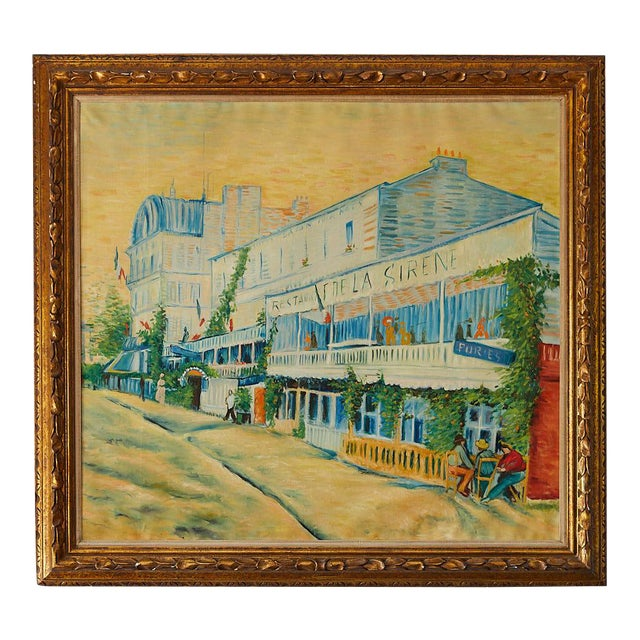 Large Impressionist Oil Painting of a French Street Scene For Sale