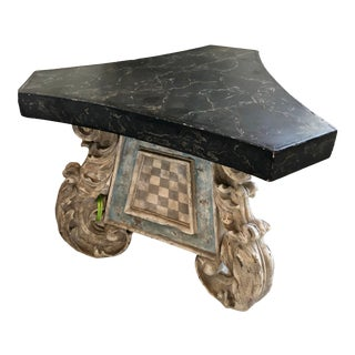 Antique 17th C French Rococo Scroll Leg Table - Faux Marble Top For Sale