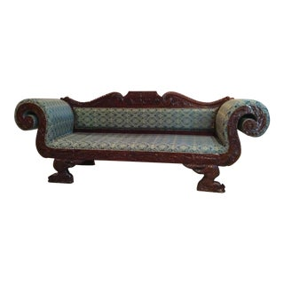 1990sEdwardian Style Hand-Carved Mahogany Chaise For Sale
