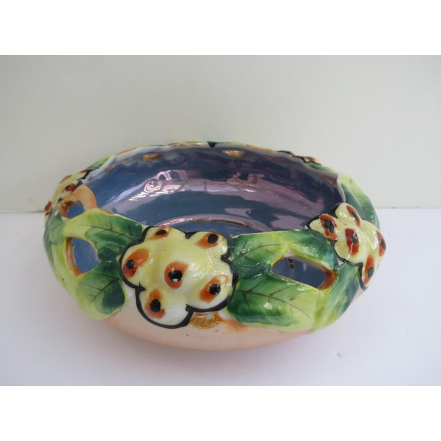 1950s Lusterware Floral Planter Bowl For Sale - Image 5 of 5